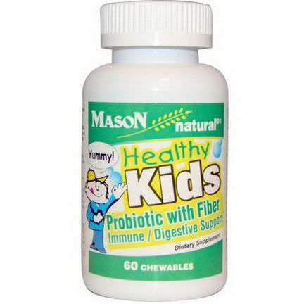 Mason Vitamins, Healthy Kids Probiotic With Fiber, 60 Chewables