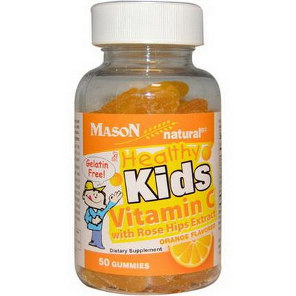 Mason Vitamins, Healthy Kids Vitamin C with Rose Hips Extract, Orange Flavored, 50 Gummies