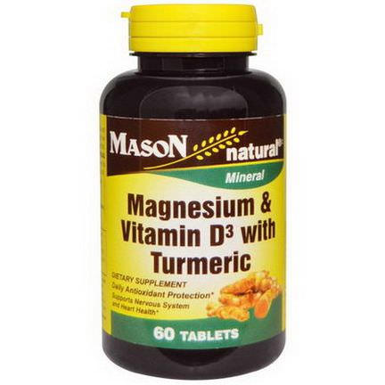 Mason Vitamins, Magnesium&Vitamin D3 with Turmeric, 60 Tablets