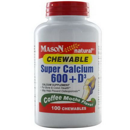 Mason Vitamins, Super Calcium 600 D3 Chewable, Coffee Mocha Flavor, 100 Chewables