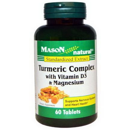 Mason Vitamins, Turmeric Complex with Vitamin D3&Magnesium, 60 Tablets