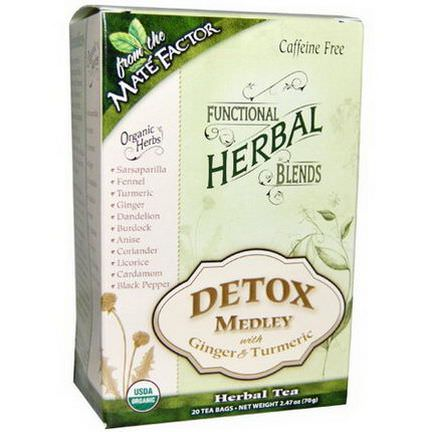 Mate Factor, Organic Functional Herbal Blends, Detox Medley with Ginger and Turmeric, 20 Tea Bags 3.5g Each