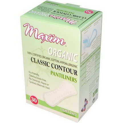 Maxim Hygiene Products, Organic Classic Contour Pantiliners, Light Days, Unscented, 30 Pantiliners