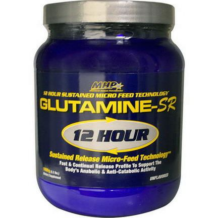 Maximum Human Performance, LLC, Glutamine-SR 12 Hour Sustained Release Micro-Feed Technology, Unflavored 1000g