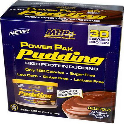 Maximum Human Performance, LLC, Power Pak Pudding, Chocolate, 6 Cans 250g Each