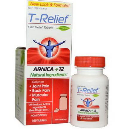 MediNatura, T- Relief, Pain Relief Tablets, 100 Tablets