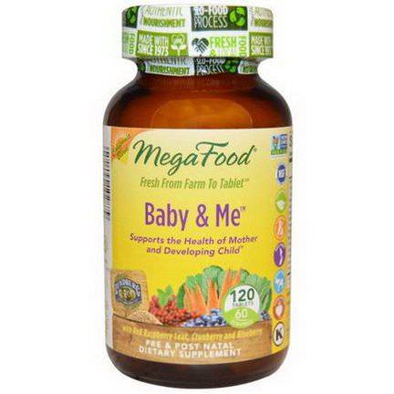 MegaFood, California Blend, Baby&Me with Red Raspberry Leaf, Cranberry and Blueberry, 120 Tablets