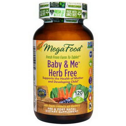 MegaFood, Baby&Me Herb Free, California Blend, Pre&Post Natal, 120 Tablets