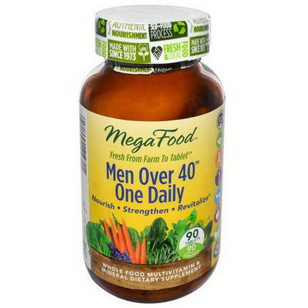 MegaFood, Men Over 40 One Daily, Iron Free, 90 Tablets