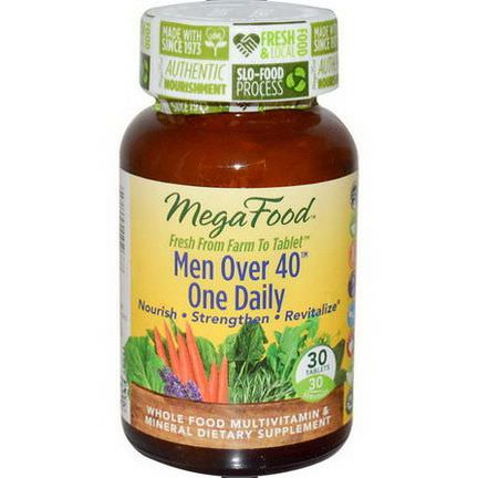 MegaFood, Men Over 40 One Daily, Iron Free Formula, 30 Tablets