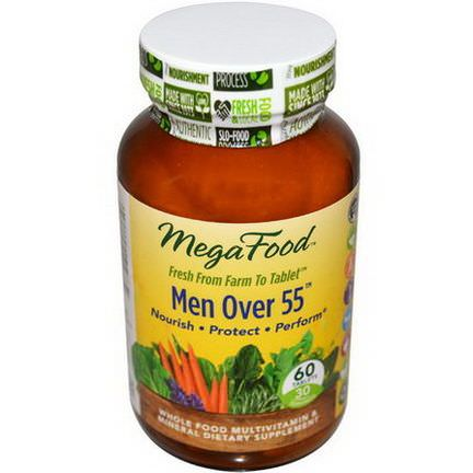 MegaFood, Men Over 55, Whole Food Multivitamin&Mineral, Iron Free, 60 Tablets
