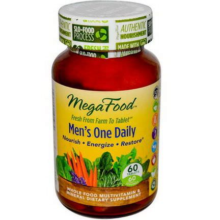 MegaFood, Men's One Daily, Iron Free, 60 Tablets