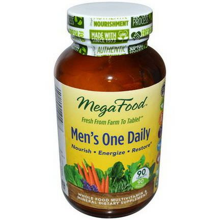 MegaFood, Men's One Daily, Iron Free, 90 Tablets
