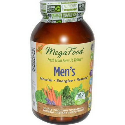 MegaFood, Men's, Whole Food Multivitamin&Mineral, Iron Free Formula, 180 Tablets