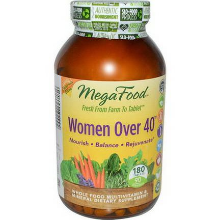 MegaFood, Women Over 40, Whole Food Multivitamin&Mineral, 180 Tablets