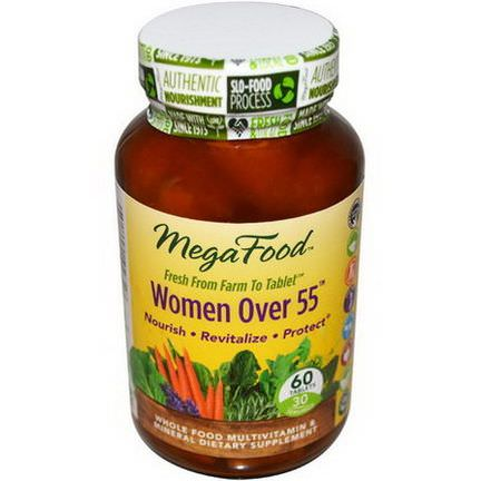 MegaFood, Women Over 55, Whole Food Multivitamin&Mineral, Iron Free, 60 Tablets