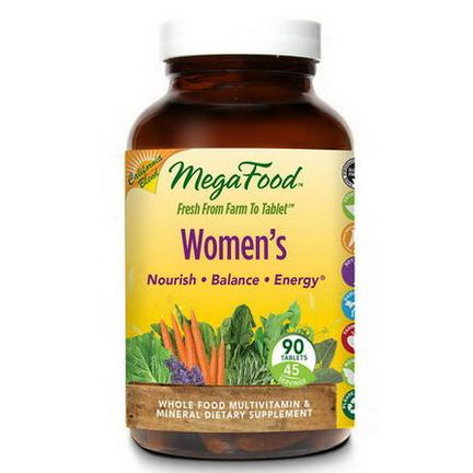MegaFood, Women's, Whole Food Multivitamin&Mineral, 90 Tablets