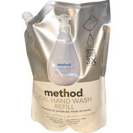Method, Gel Hand Wash Refill, Free of Dyes Perfumes 1 l