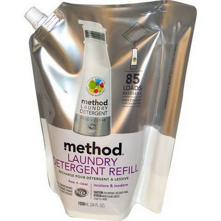 Method, Laundry Detergent Refill, 85 Loads, Free Clear 1020ml