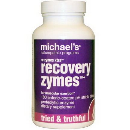 Michael's Naturopathic, W-Zymes Xtra, Recovery Zymes, 180 Enteric-Coated Tablets
