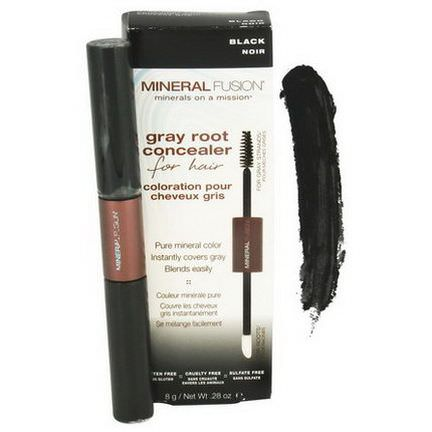 Mineral Fusion, Gray Root Concealer for Hair, Black 8g
