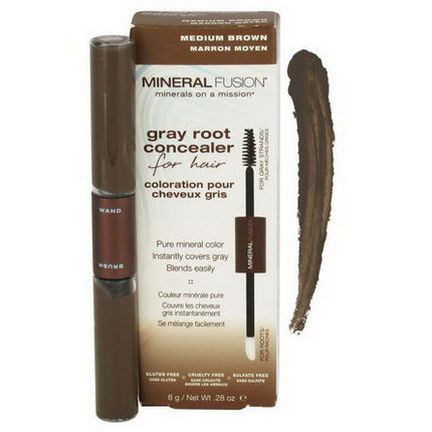 Mineral Fusion, Gray Root Concealer for Hair, Medium Brown 8g