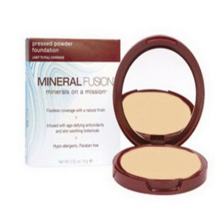 Mineral Fusion, Pressed Powder Foundation, Light to Full Coverage, Neutral 1 9g