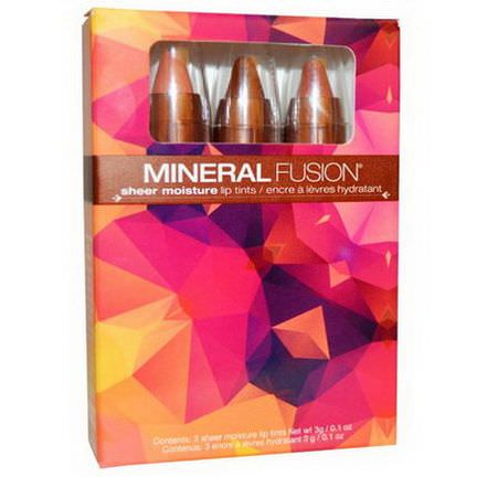 Mineral Fusion, Sheer Moisture Lip Tints, 3 Lip Tints 3g Each