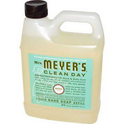 Mrs. Meyers Clean Day, Liquid Hand Soap Refill, Basil Scent 975ml