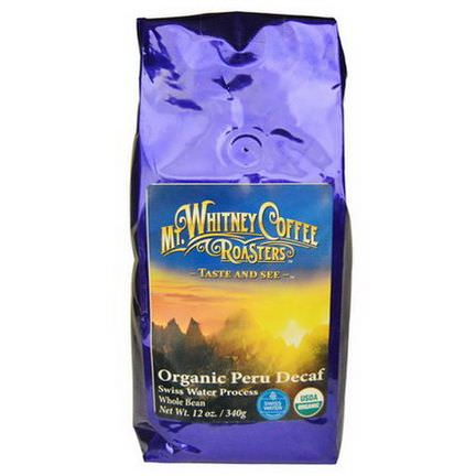 Mt. Whitney Coffee Roasters, Organic Peru Decaf, Whole Bean 340g