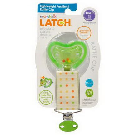 Munchkin, Latch, Lightweight Pacifier&Rattle Clip, 0 Months, 1 Pacifier