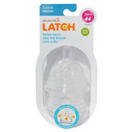 Munchkin, Latch, Stage 2 Nipples, 2 Pack
