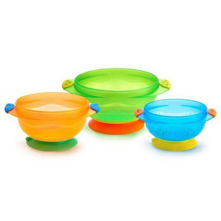 Munchkin, Stay-Put Suction Bowls, 6 Months, 3 Bowls
