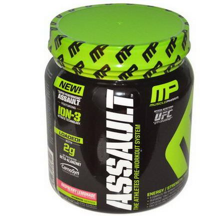 Muscle Pharm, Assault, Pre-Workout System, Raspberry Lemonade 435g