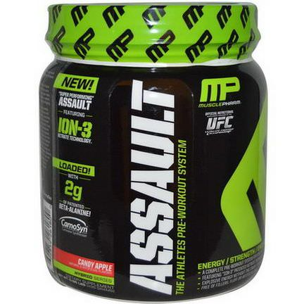 Muscle Pharm, Assault, The Athletes Pre-Workout System, Candy Apple 435g