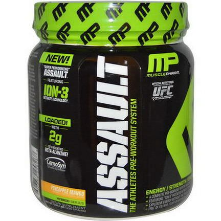 Muscle Pharm, Assault, The Athletes Pre-Workout System, Pineapple Mango 435g