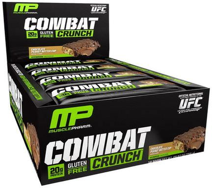 Muscle Pharm, Combat Crunch Bar, Chocolate Peanut Butter Cup, 12 Bars, 63g Each
