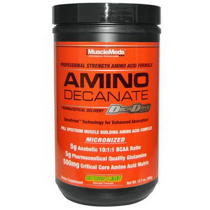 MuscleMeds, Amino Decanate, Professional Strength Amino Acid Formula, Citrus Lime 360g