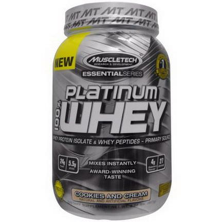 Muscletech, 100% Platinum Whey, Cookies and Cream 907g