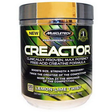 Muscletech, Creactor, Creatine Formula, Lemon-Lime Twist 220g