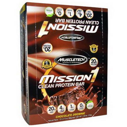 Muscletech, Mission1 Clean Protein Bar, Chocolate Brownie, 12 Bars 60g Each