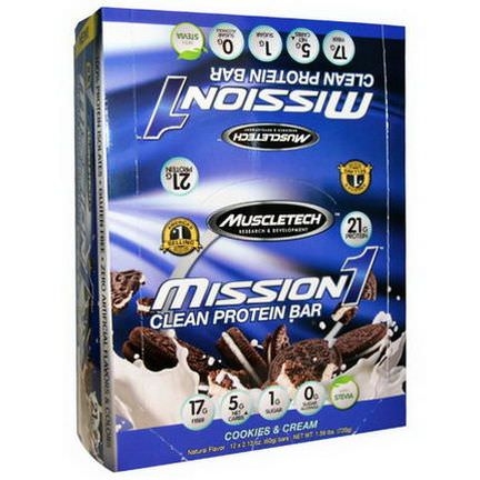 Muscletech, Mission1 Clean Protein Bar, Cookies&Cream, 12 Bars 60g Each