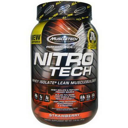 Muscletech, Nitro-Tech, Performance Series, Whey Isolate+ Lean Musclebuilder, Strawberry 907g