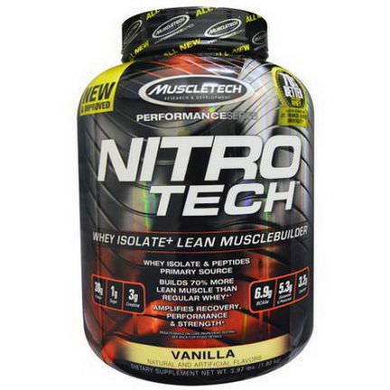 Muscletech, Nitro-Tech. Whey Isolate Lean Muscle Builder, Vanilla 1.8 kg
