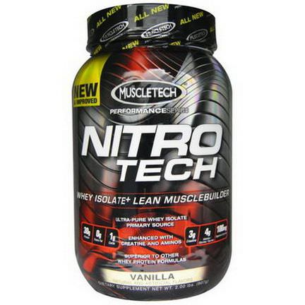 Muscletech, Nitro Tech, Whey Isolate+ Lean MuscleBuilder, Vanilla 907g