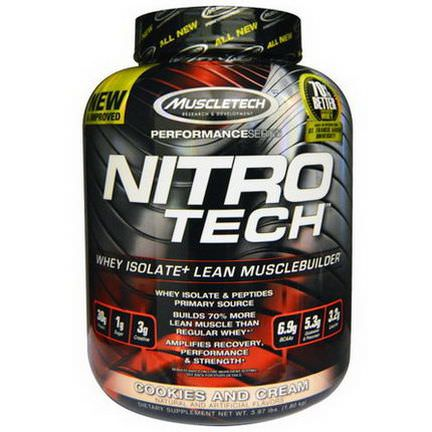Muscletech, Nitro Tech, Whey Isolate Lean Musclebuilder, Cookies and Cream 1.80 kg