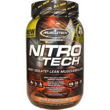Muscletech, Nitro Tech, Whey Isolate+ Lean Musclebuilder, Milk Chocolate 907g