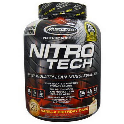 Muscletech, Nitro Tech, Whey Isolate+ Lean Musclebuilding, Vanilla Birthday Cake 1.80 kg