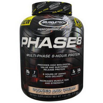 Muscletech, PHASE8, Multi-Phase 8-Hour Protein, Cookies and Cream 2.09 kg