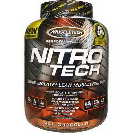 Muscletech, Performance Series, Nitro-Tech, Whey Isolate Lean Musclebuilder, Milk Chocolate 1.80 kg